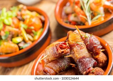 delicious rustic spanish mediterranean dates in ham tapas starter