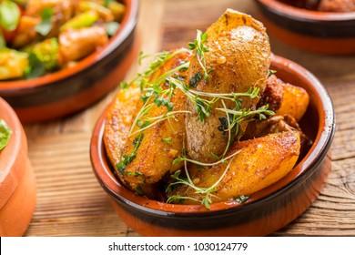 delicious rustic spanish patatas bravas potatoes tapas starter