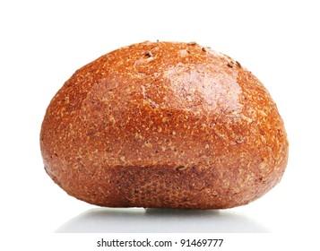 delicious rye bun isolated on white