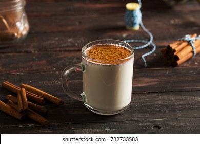 Delicious Sahlep on Rustic Wooden Background