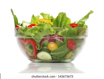 Delicious salad on a bowl isolated over white