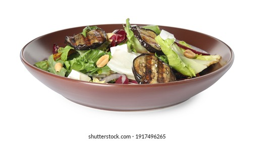 Delicious salad with roasted eggplant, feta cheese and arugula isolated on white