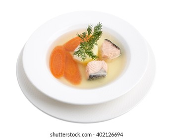 Delicious salmon soup with carrot and dill. Isolated on a white background.