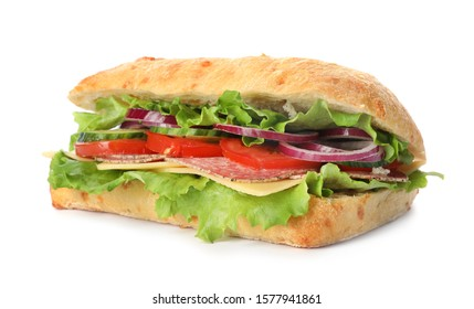 Delicious sandwich with fresh vegetables and salami isolated on white