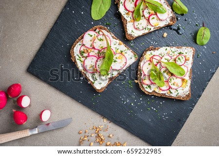 Delicious sandwiches with soft cream cheese and radish. Vegetarian food.