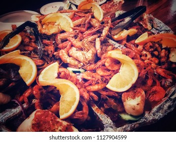 Delicious seafood dinner