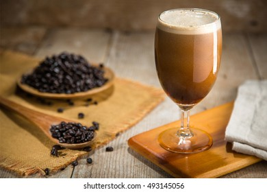 Delicious serving of fresh nitro coffee from the tap organic ingredients