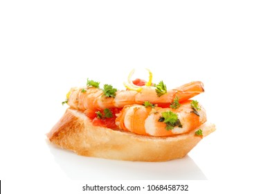 Delicious Shrimp Sandwich with parsley isolated on white background. Seafood eating concept. Seafood canape.