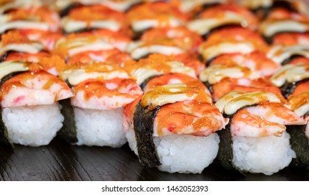 Delicious Shrimp sushi background photo