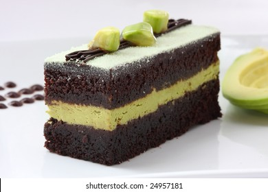 Delicious slice of avocado chocolate cake