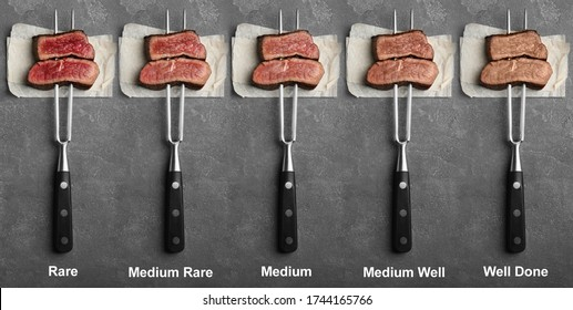 Delicious sliced beef tenderloins with different degrees of doneness on grey background, top view. Banner design
