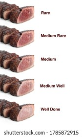 Delicious sliced beef tenderloins with different degrees of doneness on white background