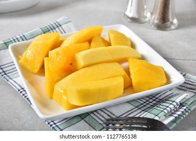 Delicious slices of fresh ripe mango in a small bowl