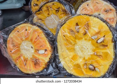 Delicious slices of jackfruit in a chinese market. This is an exotic tasty fruit witha bittersweet taste.