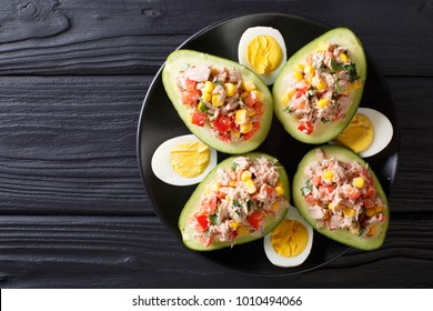 Delicious snack of avocado stuffed with tuna salad closeup on a plate. horizontal top view from above