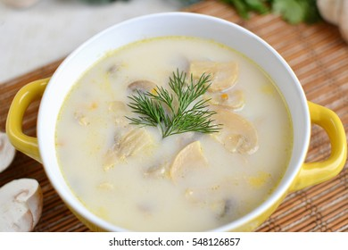 Delicious soup with cheese and mushrooms
