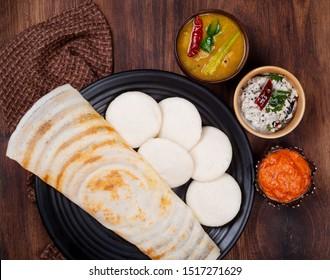 Delicious south Indian dish Idli dosa sambar and chutney