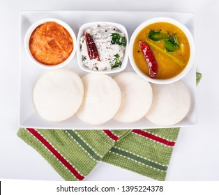Delicious south Indian food Idly sambar and chutney