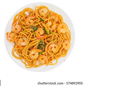 delicious delicious spaghetti with shrimps on a White background
