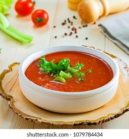 Delicious Spanish gazpacho. Delicious vegan soup on a table.