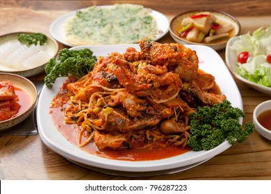 Delicious spicy anglerfish steamed dish  on a plate