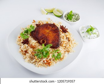 Delicious and spicy king fish biryani