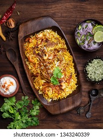 Delicious and spicy mutton biryani top view