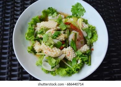 Delicious spicy seafood salad, Thai cuisine