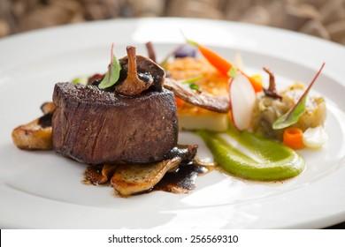 delicious steak with wild mushrooms