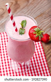 Delicious strawberry smoothie close-up