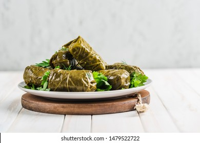 Delicious stuffed grape leaves (traditional doom Mediterranean cuisine Dolma) on a black plate with fresh cilantro and dill on a light wooden background side view close up with copyspace