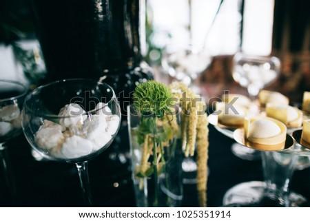 Delicious Stylish Black Wedding Reception Candy Stock Photo Edit