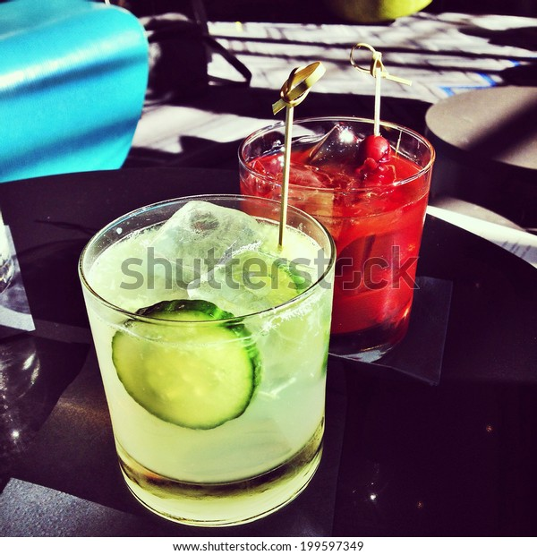 Delicious summer cocktails with an Instagram effect filter.