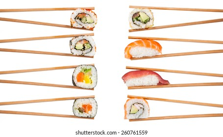 Delicious sushi, maki, nigiri pieces isolated on white background