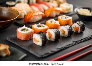 Delicious sushi rolls, nigiri and salmon sushi rolls