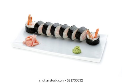 Delicious sushi rolls on white plate isolated