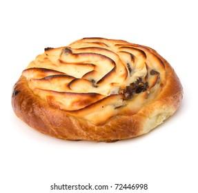 Delicious sweet cream bun isolated on white background