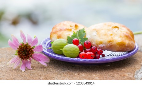 delicious sweet fresh pies - cheesecakes on a blue plate with red currant berries, green gooseberries and a pink flower outdoors in the summer