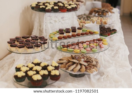 Delicious Table Desserts Macarons Wedding Reception Stock Photo