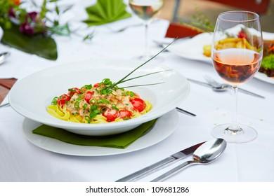 delicious tagliatelle at the restaurant