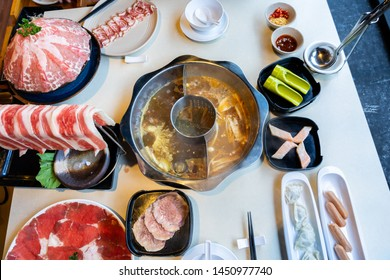 Delicious Taiwan hotpot with beef, meat and seafood