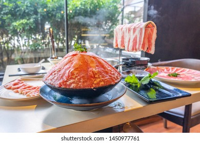 Delicious Taiwan hotpot with beef slice and seafood