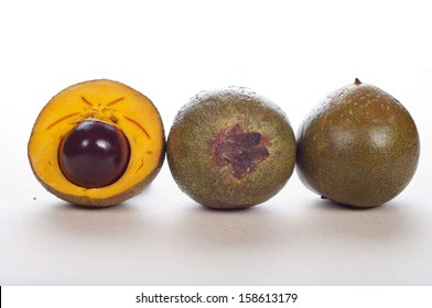 delicious and tasty lucuma fruit against a white background