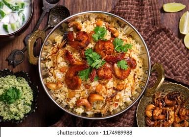 Delicious and tasty prawns biryani