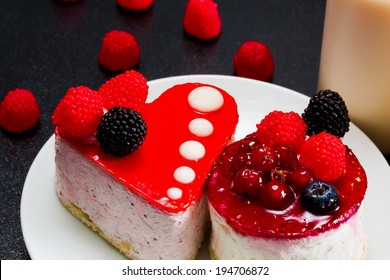 delicious and tasty sweet cake with berries