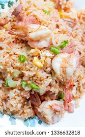 Delicious Thai fried rice with shrimp pork  egg and chilli,top view