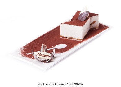 Delicious tiramisu dessert with cacao powder on top
