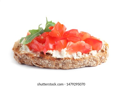 Delicious tomato bruschetta on white background. Traditional Italian antipasto