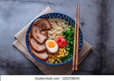 Delicious tonkotsu ramen, pork bone broth noodles, copy space