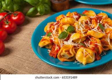 Delicious tortellini with meat in tomato sauce, sprinkled with parmesan cheese and basil. Front view.